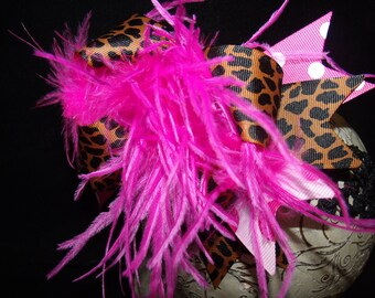 Over The Top Boutique Hairbow..Hot Pink Cheetah Spikey Layered Boutique Bow and Headband..Great for Newborn Toddler big Girl