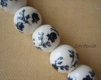 7PCS - Ceramic Rounds - 15mm - Navy and White - Jewelry Findings by ZARDENIA