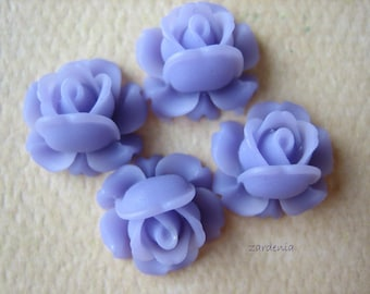 4PCS - Mini Cabbage Rose Flower Cabochons - 12mm - Resin - Lavender - Findings by ZARDENIA