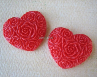 2PCS - Heart Flower Cabochons - Resin - Red - 19x21mm - Cabochons by ZARDENIA