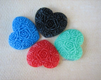 4PCS - Heart Flower Cabochons - Resin - Mixed Colors - 19x21mm - Cabochons by ZARDENIA
