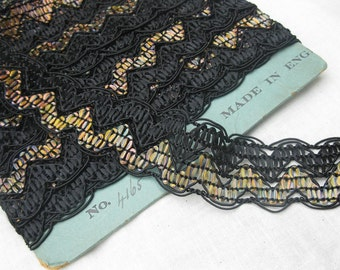 Vintage Black Rayon Multicolor Art Deco Trim New Old Stock 1930s
