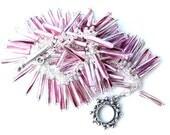 steampunk purple. bracelet. wire wrapped bugle beads. two tone purple silver bugle beaded bracelet