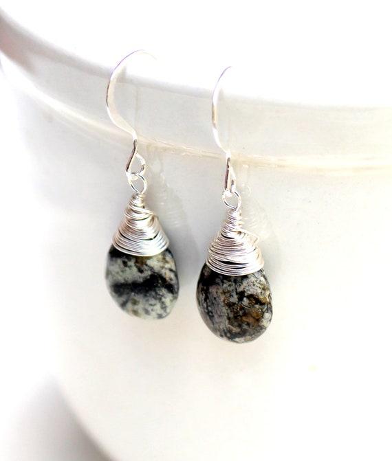 dark teardrop earrings. sterling silver gemstone handmade gothic gemstone wrapped earrings. FREE domestic SHIPPING