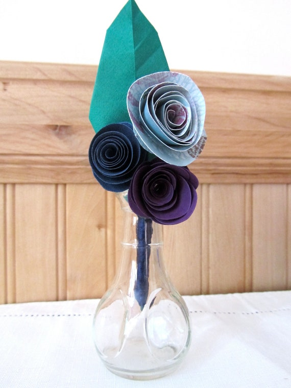 3 Rosette Paper Flower Boutonniere: Made to Order