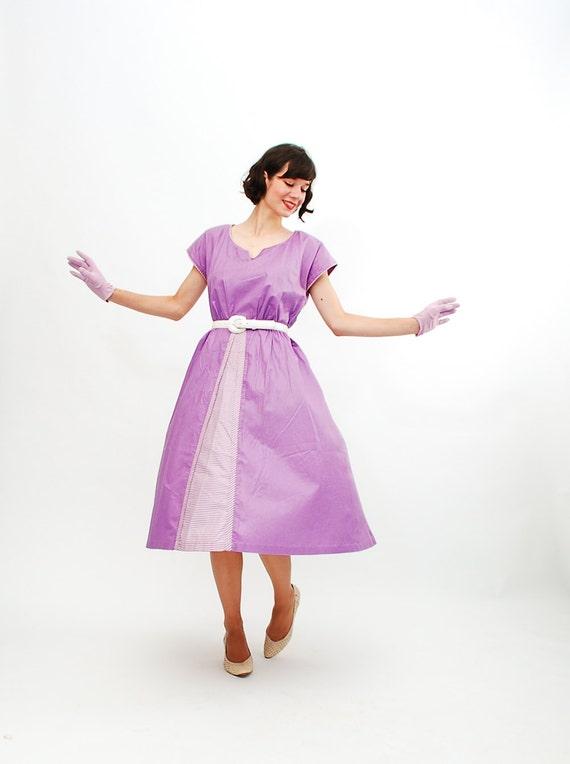 Vintage 1950s Summer Dress - 50s Day Dress - Grape Purple