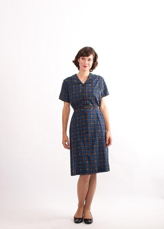 Vintage 1950s Dress - 50s Shirtwaist Dress - Blue Windowpane Plaid