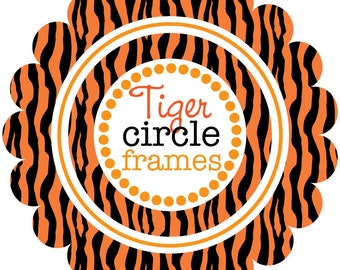 Tiger tiger - Circle Frames with Tiger Stripes - Digital Clip Art
