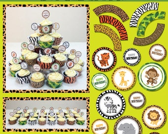 Party Printables - Jungle Safari - Cupcake Toppers and Wrappers - monkey, tiger, giraffe, zebra, lion, elephant
