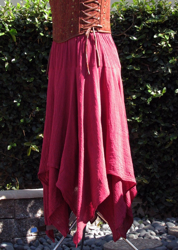 Double Layered Staggered Length Gauze Skirt