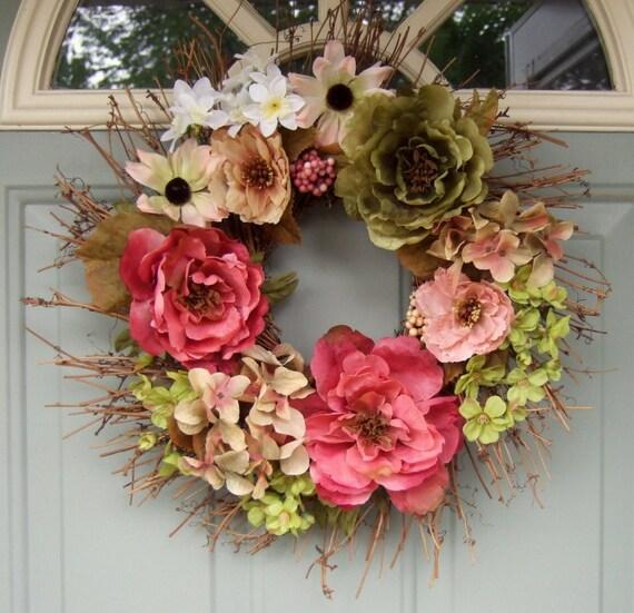 Summer Wreath - Door Wreath - Wreath for Door - Floral Door Wreath