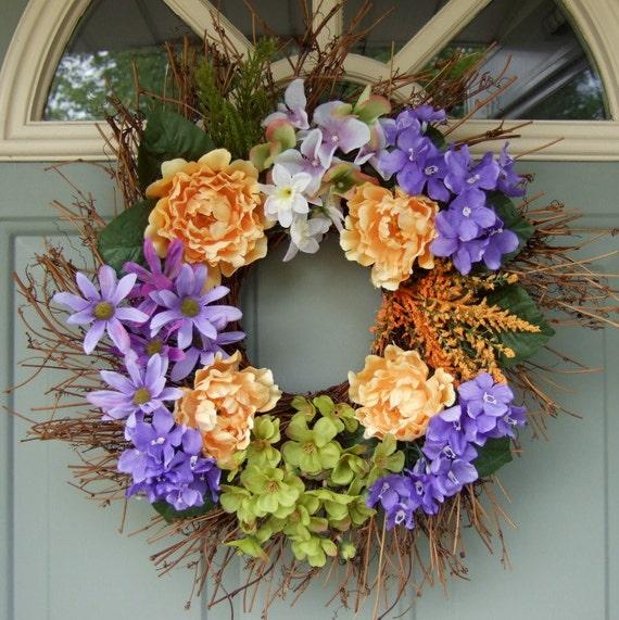 Summer Wreath - Wreath for Door - Floral Door Wreath