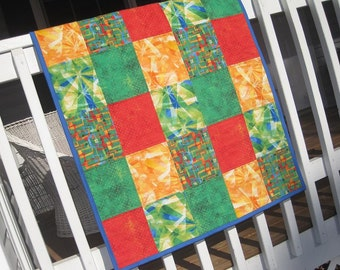 Handmade Baby Boy Patchwork Quilt-Boys Tie Dye Baby Quilt in Primary Colors-Designer Frabic Baby Boy Quilt-Geometric Retro Baby Boy Quilt