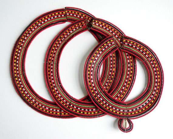 Maasai Beaded African Tribal Necklaces Set of 3 1950s 1960s
