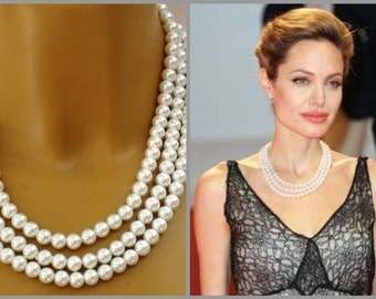 Angelina Jolie's Inspired  Classic Multi Strand Pearl Necklace Perfect for Bride, Wedding, Bridesmaids And Formal