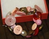 Brass button charm bracelet, pink, red, pearl color