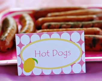 Lemonade Party Custom Tent Place Cards - Sweet Pink Lemonade Collection