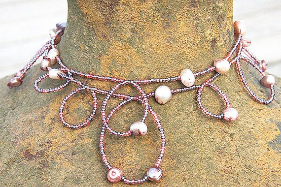 Pink Seed Bead and Pearl Necklace. Handmade Bubble Necklace. Wear it Long or Doubled or as 4 Wrap Bracelet, Buy Handmade