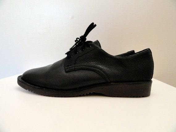 90s Black Leather Doc Marten Style Pointed Toe Creepers 9 / 9.5