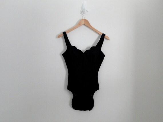 90s Black Scallop One Piece Swimsuit