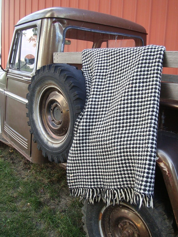 Vintage Black an White or Cream Plaid Wool  Shabby Chic Blanket