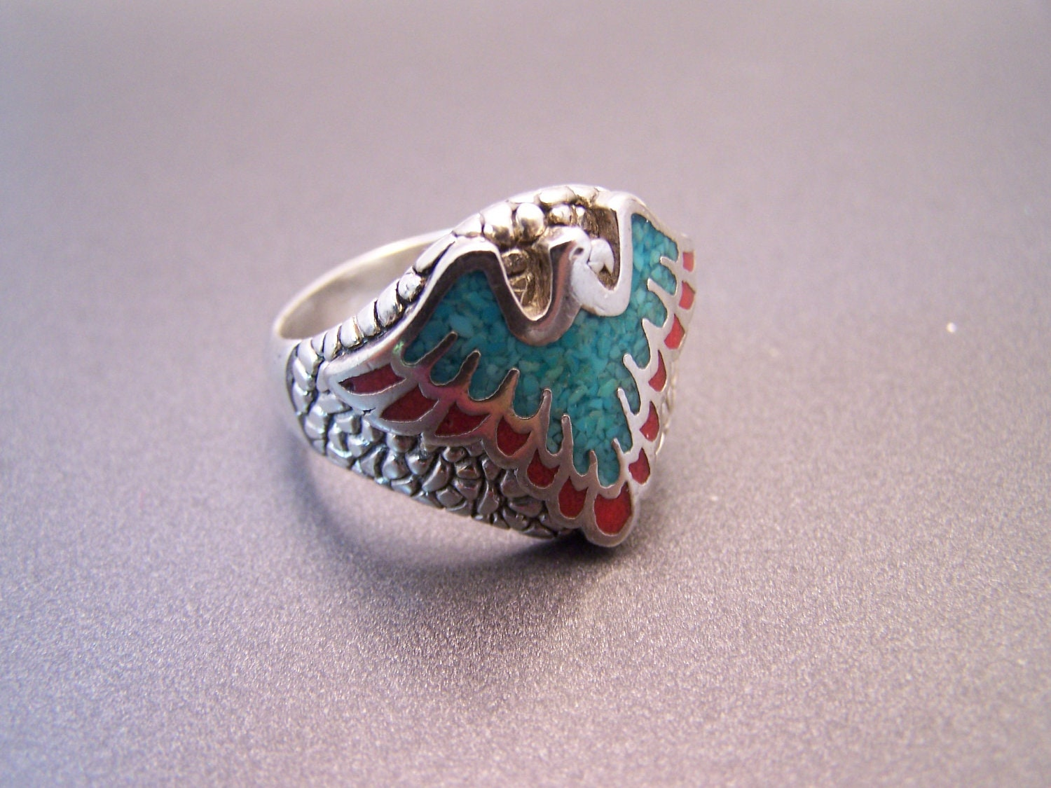 G Amp S Biker Ring South Western Turquoise Signed