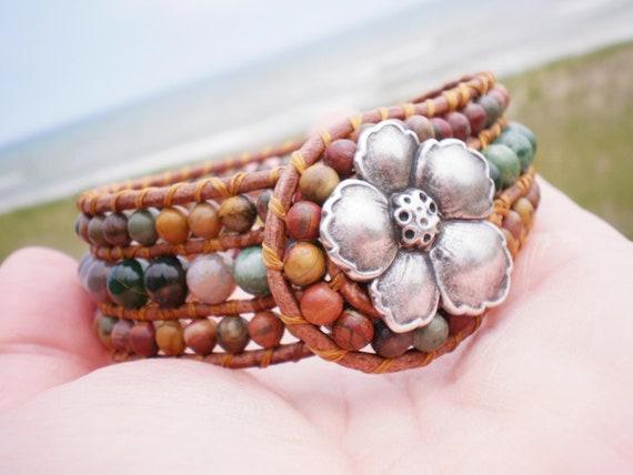 Jasper Leather Wrap Cuff Woven Bracelet