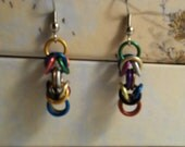 Pre-made ready to ship Multi-color chainmaille byzantine earrings