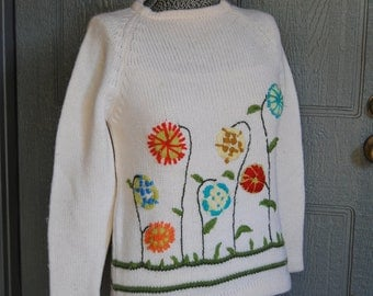 Vintage Cream Sweater with Bright Embroidered Flowers