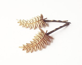 LAST ONE Gold Leaf Hair Clips Bridal Bobby Pins Bride Bridesmaid Nature Inspired Garden Botanical Rustic Woodland Wedding Accessories Spring