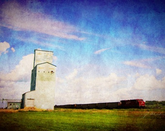 and the train roared by, train photograph, fine art, dreamy prairie landscape, cp rail, canadian photography