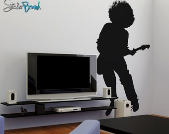 Vinyl Wall Decal Sticker 70's Inspired Guitar Player OSAA137s