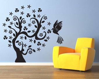 Vinyl Wall Decal Sticker Hummingbird Tree 1006s