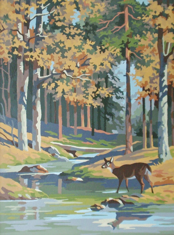 Vintage Pbn Paint By Numbers Deer In Woodland By Rattyandcatty
