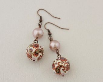 Japanese Beads with Paisley Ornament and  Light Lilac Shell Pearls Earrings