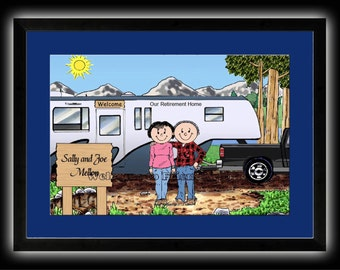 Personalized Cartoon - 5th Wheeler Trailer, Pull-a-long Camper or RV Camper - 8 x 10 Matted Print   w customer choice of mat color