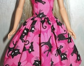 """Handmade 11.5"""" fashion doll clothes - Pink and black cat dress"""