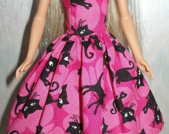"Handmade 11.5"" fashion doll clothes - Pink and black cat dress"