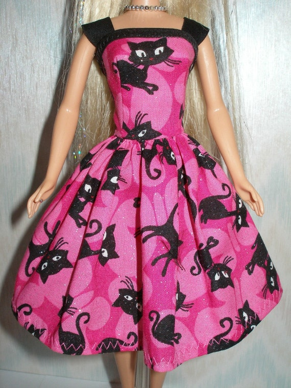 handmade 115 fashion doll clothes pink and black cat
