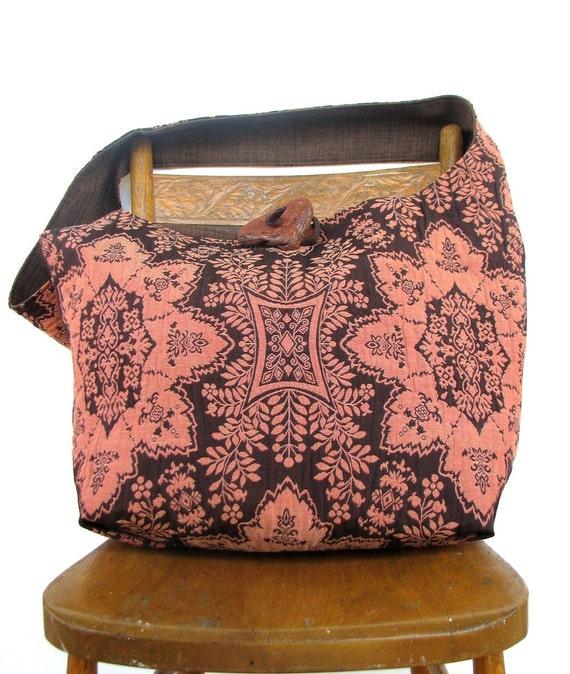 BOHO BAG Cross Body Bag Long Strap Shoulder Bag Salmon Bag Damask Bag Bohemian Bag Vegan Bag Handmade Bag Crossbody Bag Diaper Bag