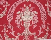 """Antique French fabric Red 1890s Classical Motif Urn, Wreath, 16 X 29"""""""
