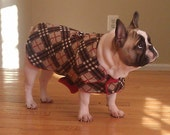 Dog Jacket -  Brown and Red Plaid Knit Fabric Dog Coat- Size Med- 16-19 Inch Back Length - Or Custom Size
