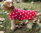 Dog Coat - Red and White Polka Dot Fleece Dog Coat- Size XX Small- 8 to 10 Inch Back Length - Or Custom Size