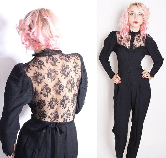 Black Lace Onesie / Steampunk / Gothic / Victorian Romper / Black Lace / Vintage Jumpsuit / Pantsuit / One Piece / Romantic Fashion / 1223
