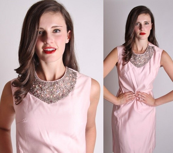 Couture 1960s Pink Beaded Bib Collar Cocktail Dress / Dress / Dresses / Sheath / Jackie Kennedy / Mad Men / Wedding Dress / 1152