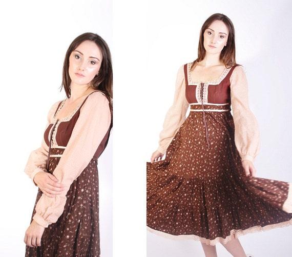 Vintage Gunne Sax Dress / Short Dress / Gunne Sax / Prairie / Peasant / Dress / Dresses / Boho / Corset / Bohemian / 1280