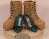 Combat Boots and Teal Pumps Wedding Cake Topper