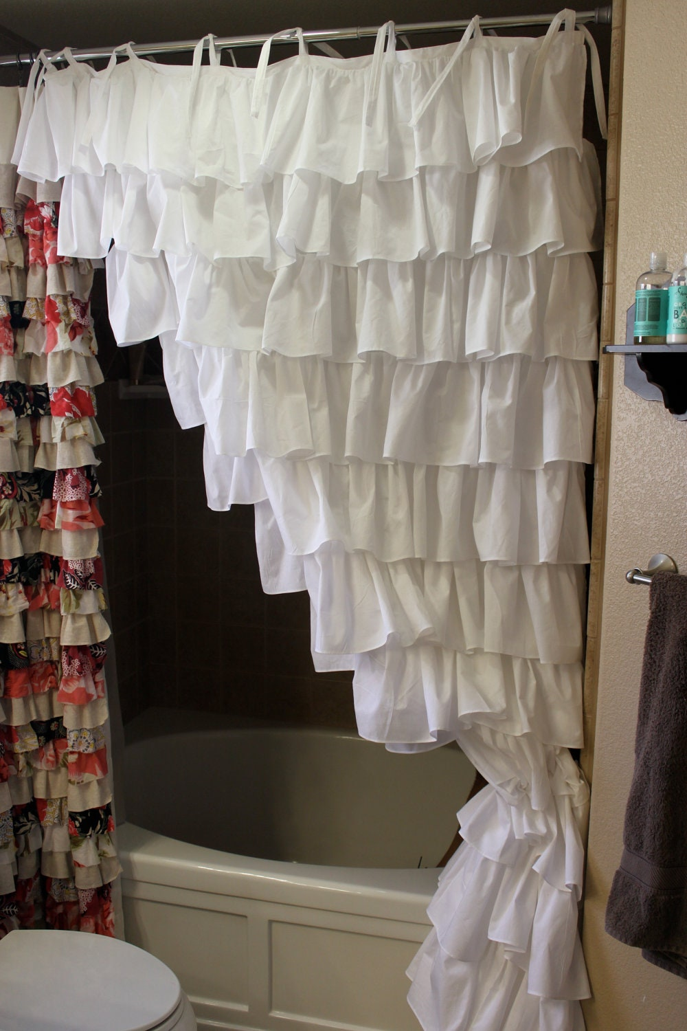 White Ruffled Shower Curtain Ruffled Curtains