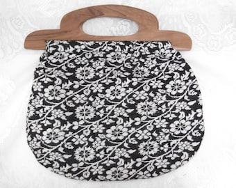 Vintage 1970s Purse Handbag Hippie Woodstock Batik Wood Handles Velvet Lined India
