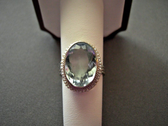 14k Aquamaring Ring w/ Seed Pearls 6.5 carats Size7 White Gold